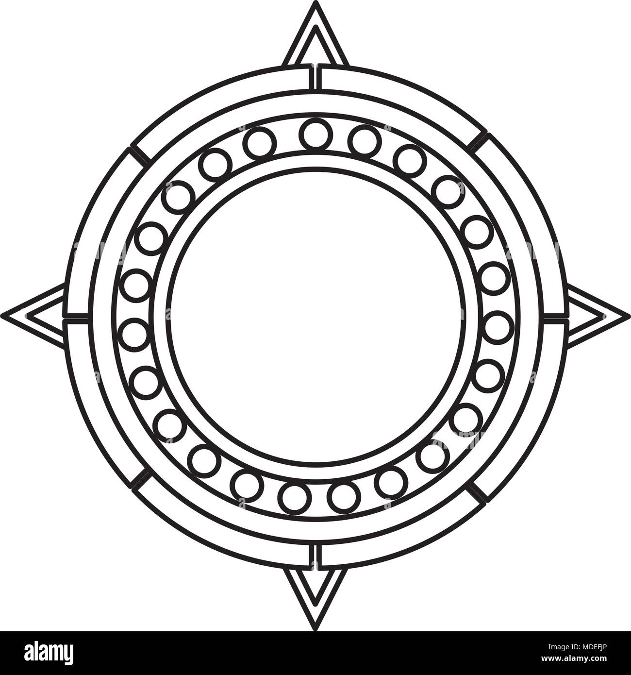 Line Sun Aztec Culture Traditional Symbol Stock Vector Art