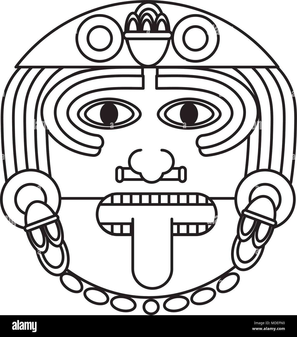 Line Aztec Sun God Culture Symbol Stock Vector Art Illustration