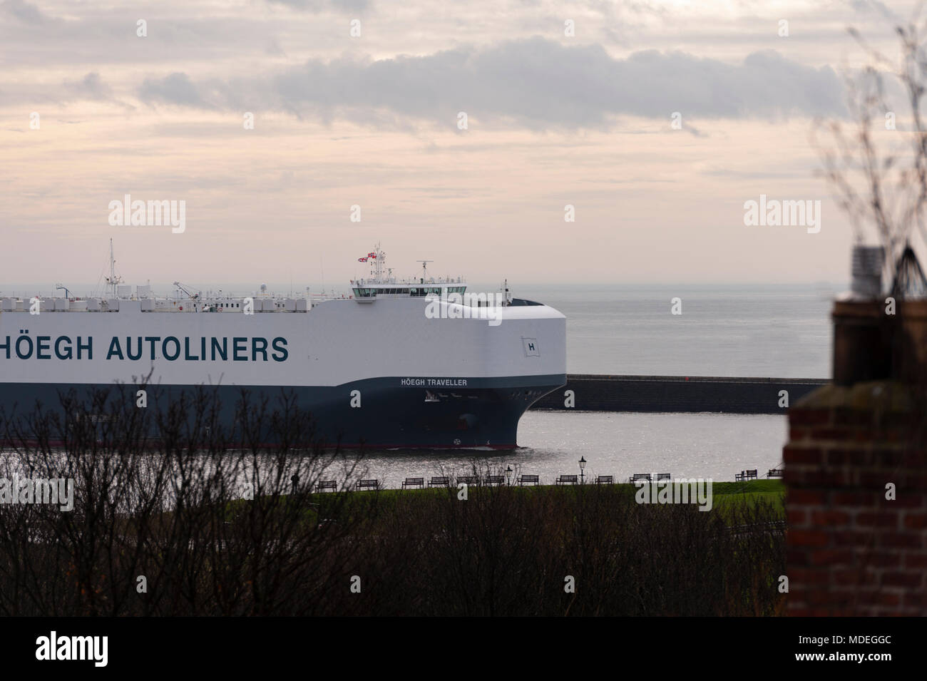 The Hoegh Traveller the autoliner arriving in the river Tyne