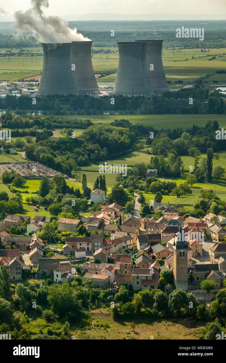 France, nuclear power planta ar Hires sur Amby - Stock Image