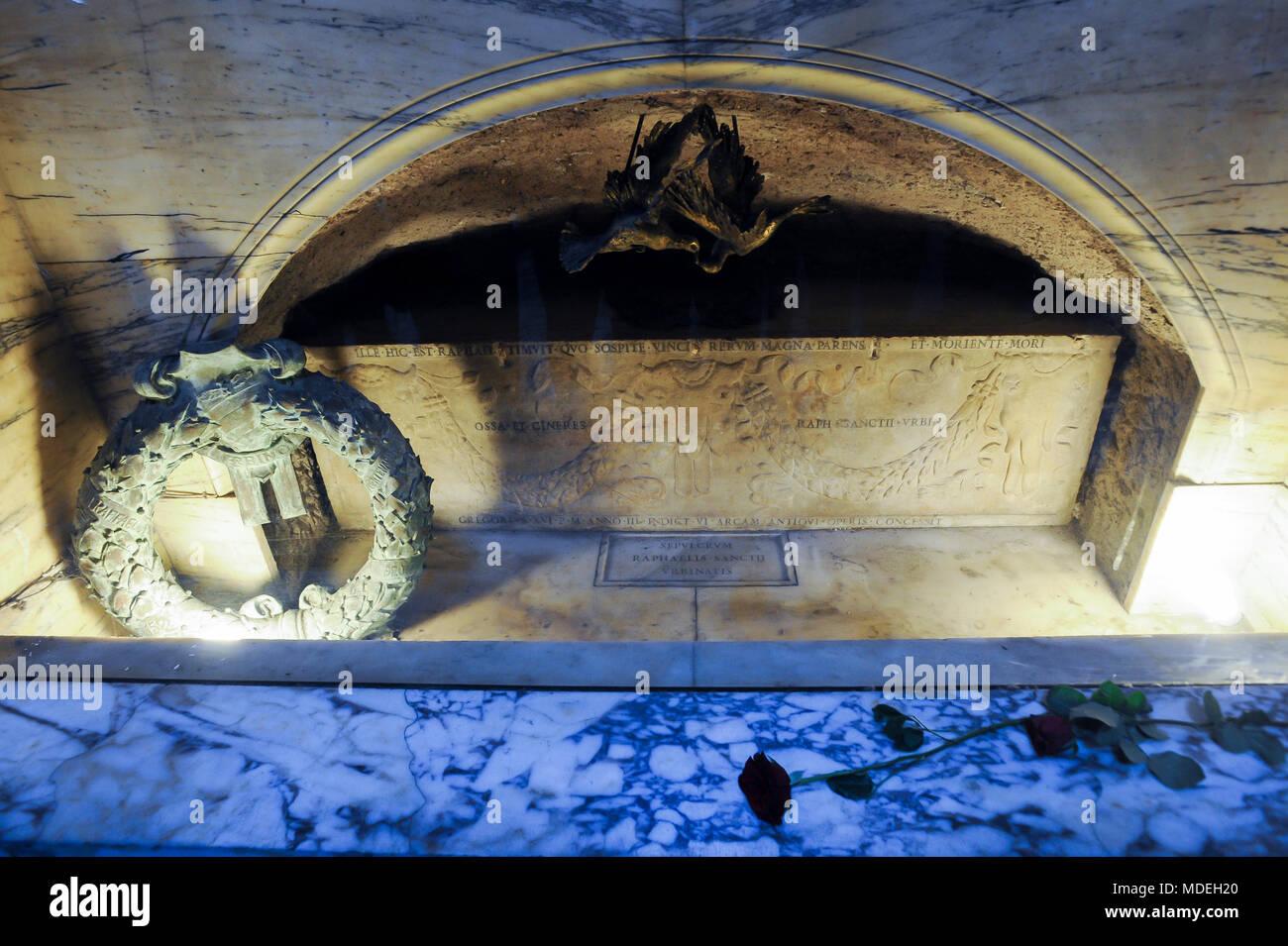 The tomb of Raphael in Pantheon or Basilica collegiata di Santa Maria ad Martyres (Basilica of St. Mary and the Martyrs) on Piazza della Rotonda in Hi Stock Photo