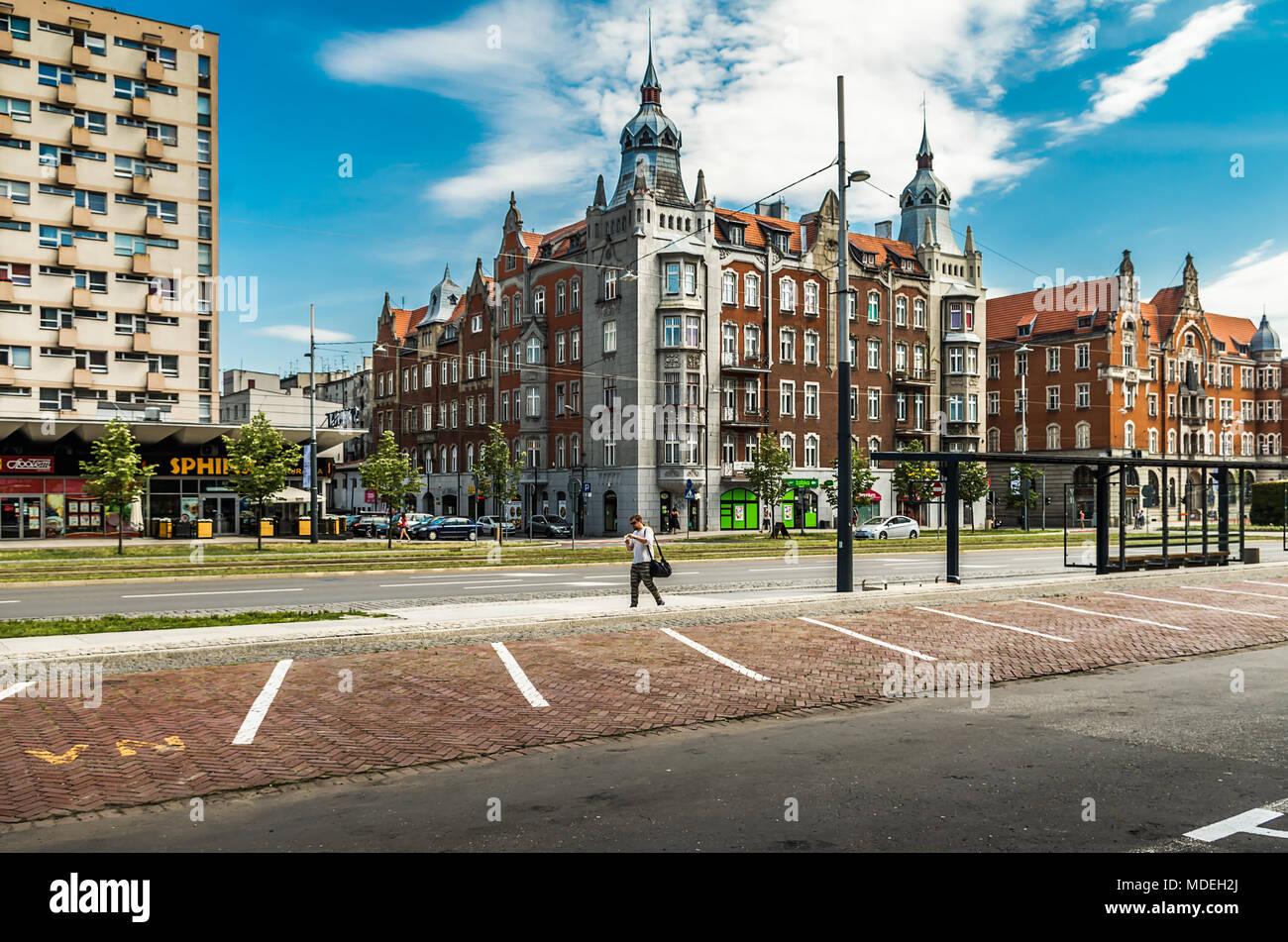 Center of Katowice city, Korfantego Street, Silesia, Poland. Stock Photo