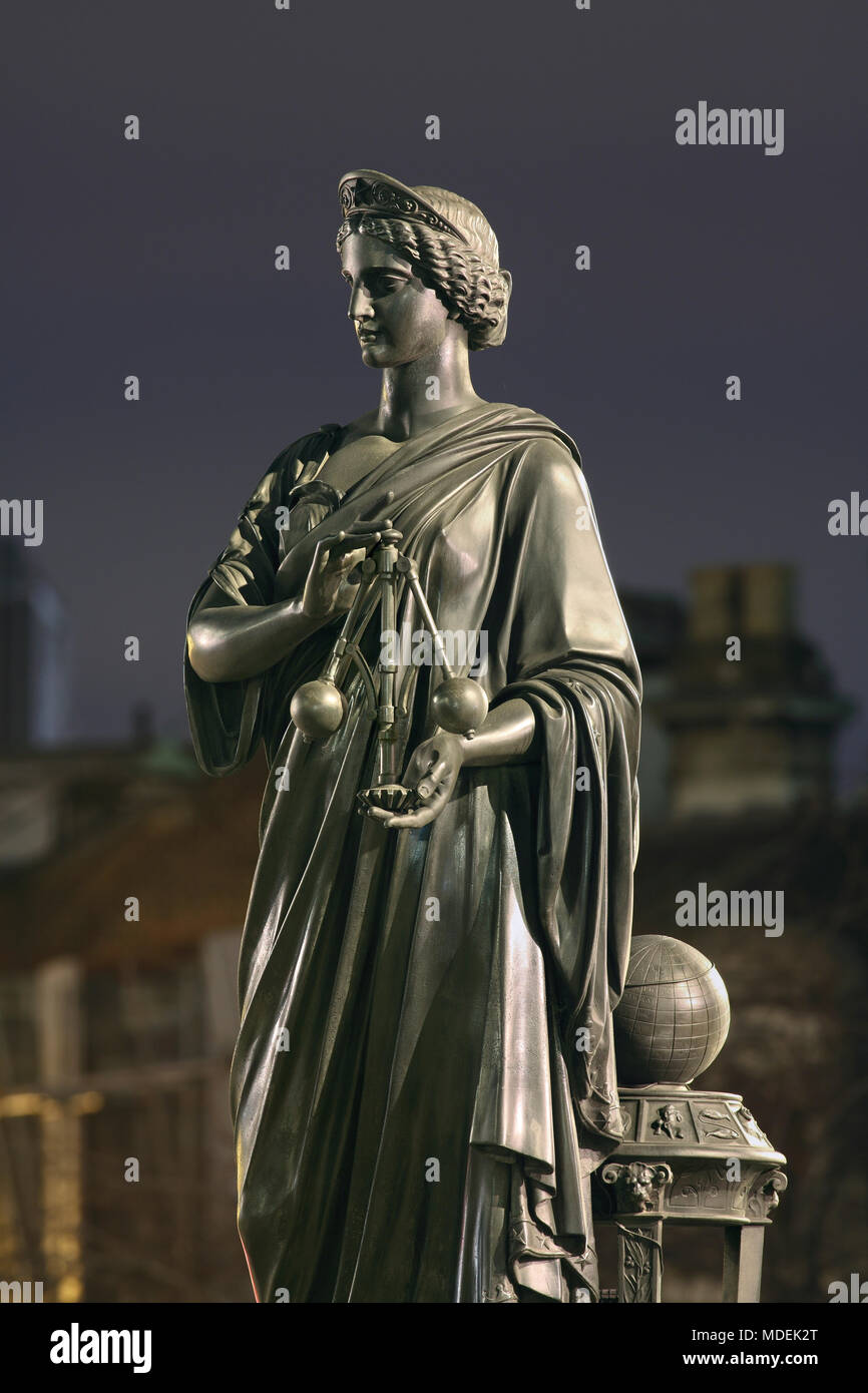 Statue of Science on Holborn Viaduct, London. Bronze statue of a female allegorical figure holding a centrifugal governor. - Stock Image
