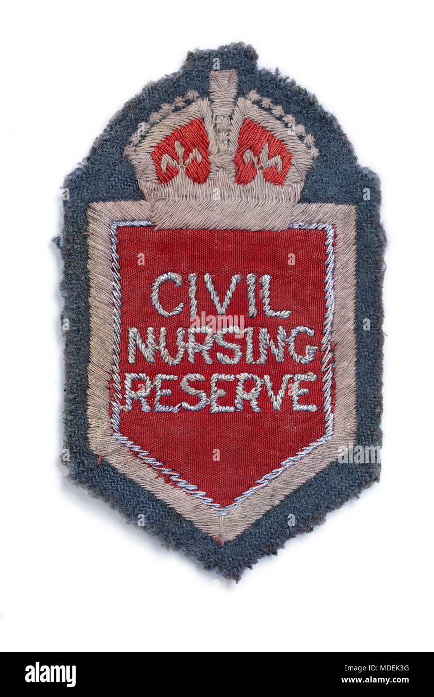Woven cloth patch of the British Civil Nursing Reserve from the 1940s. (For sewing on to a uniform.) - Stock Image