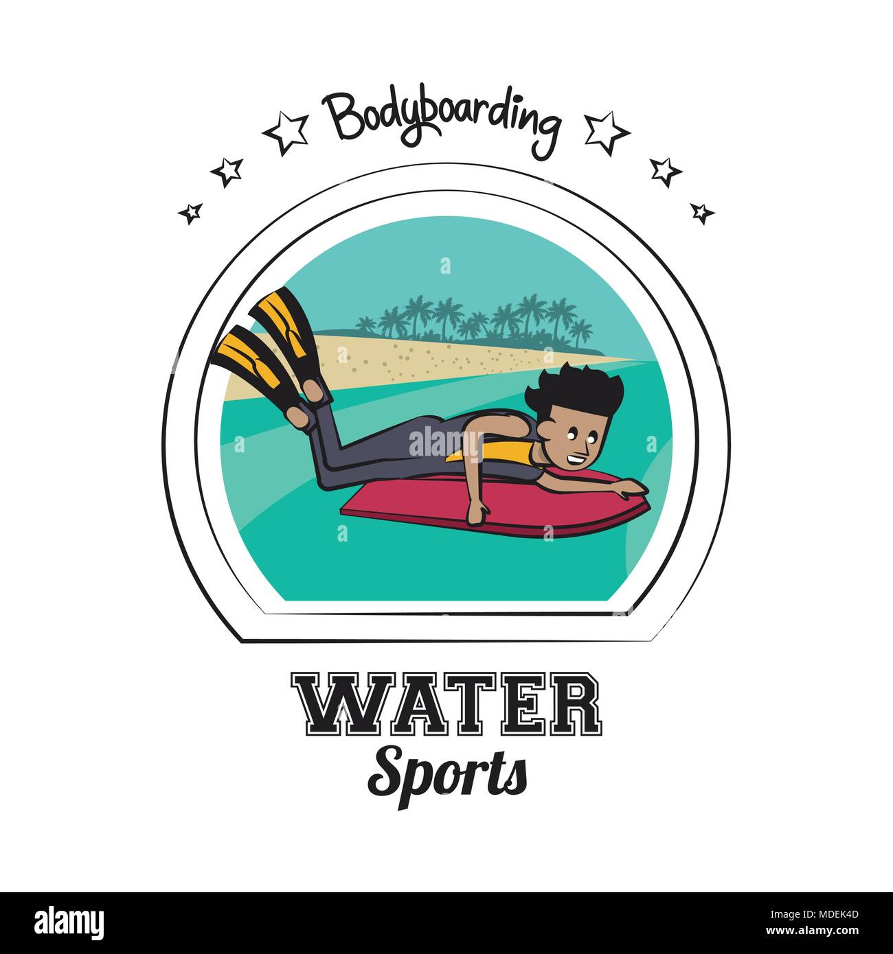 Water sports cartoon - Stock Image