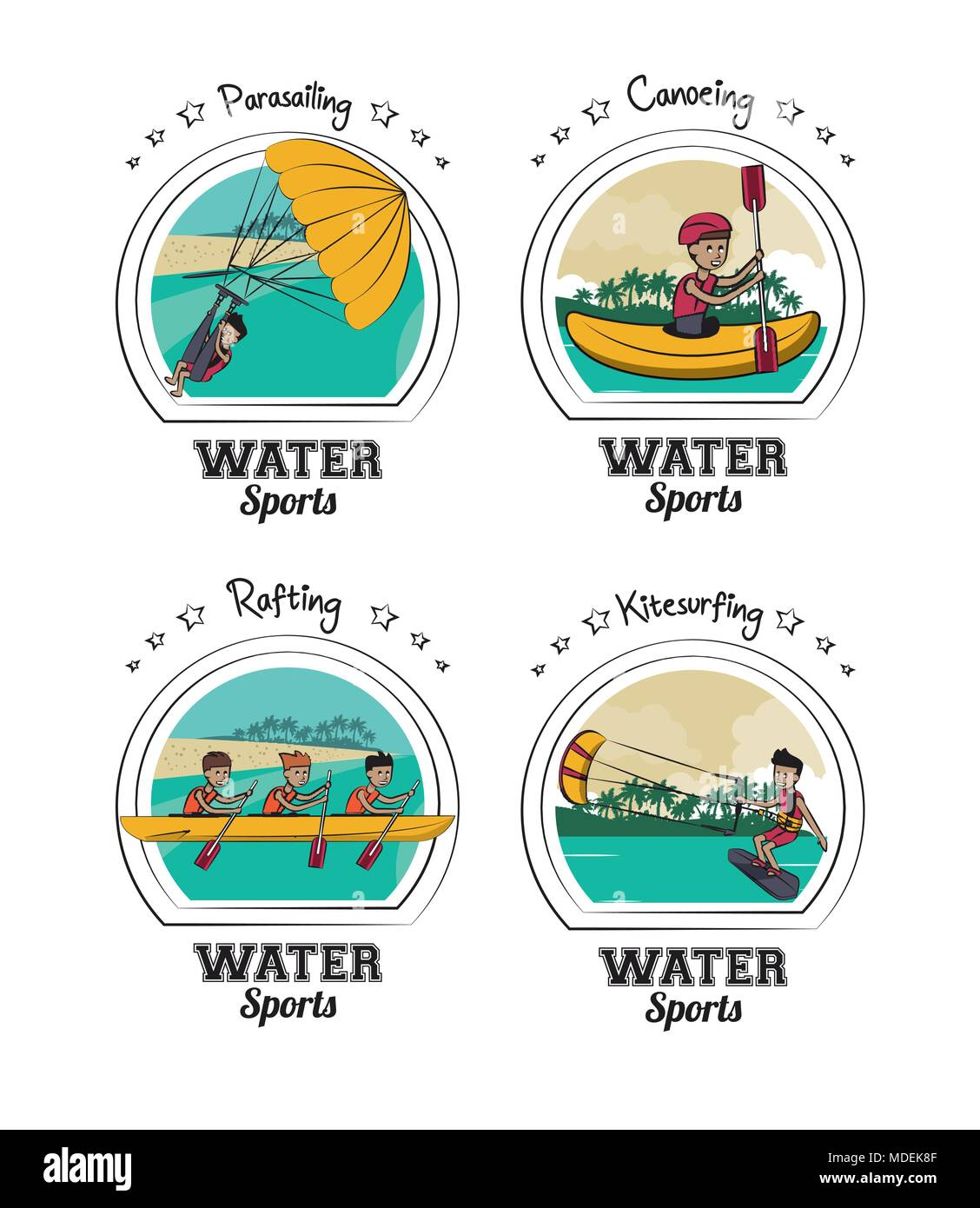 Set of water sports cartoons - Stock Vector