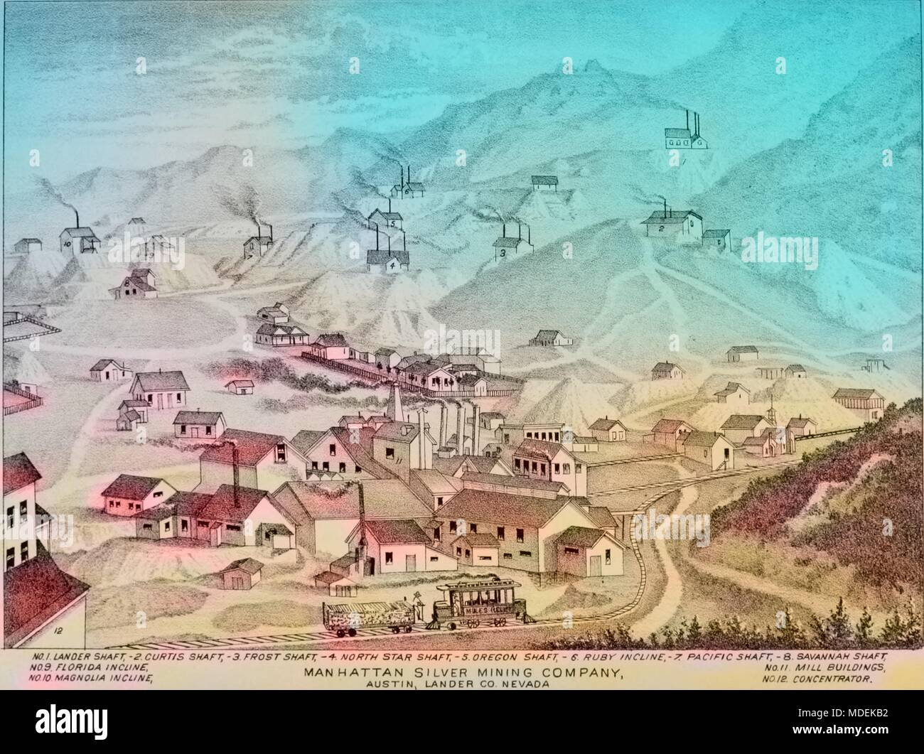 Hand-drawn map of mines operated by the Manhattan Silver Mining Company in Austin, Nevada, 1881. Courtesy Internet Archive. Note: Image has been digitally colorized using a modern process. Colors may not be period-accurate. () - Stock Image