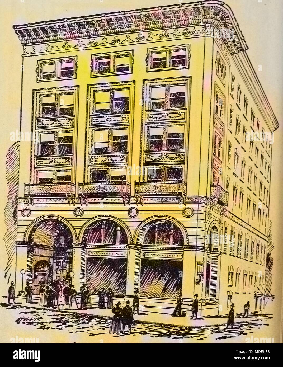 Pen and ink drawing of Steinert Hall, Boylston Street, Boston, Massachusetts, 1878. Courtesy Internet Archive. Note: Image has been digitally colorized using a modern process. Colors may not be period-accurate. () Stock Photo