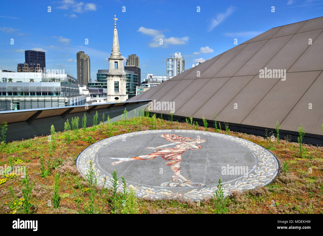 London, England, UK. Rooftop of One New Change, opposits St Paul's Cathedral. 'Ariel' mosaic by Boris Anrep and Spire of St Vedast Alias Foster - Stock Image