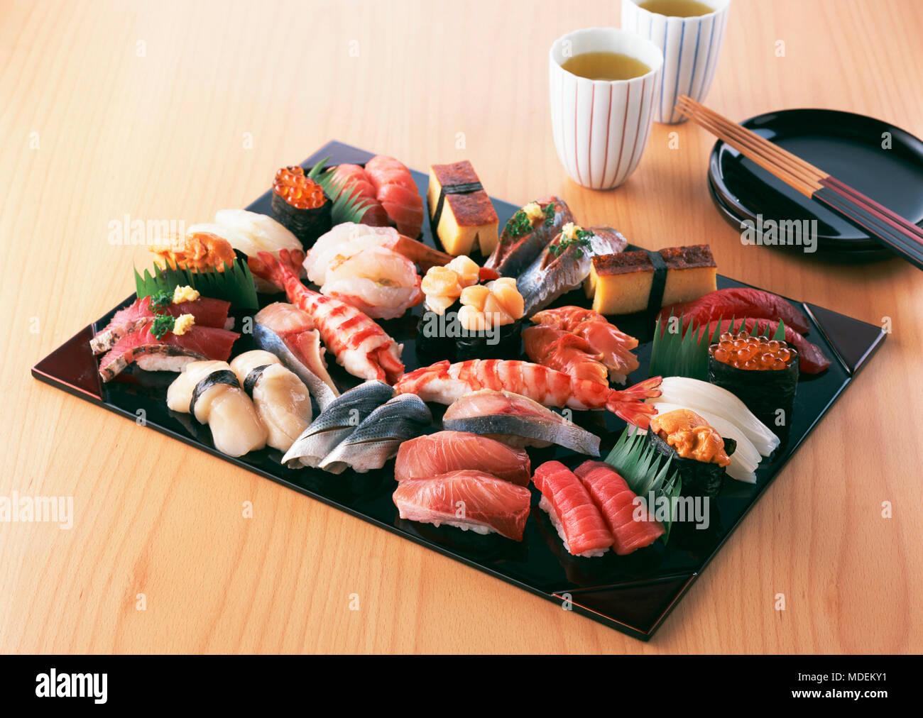 Seafoods Sushi Caviar Wood planks Food photo Roy - Stock Image