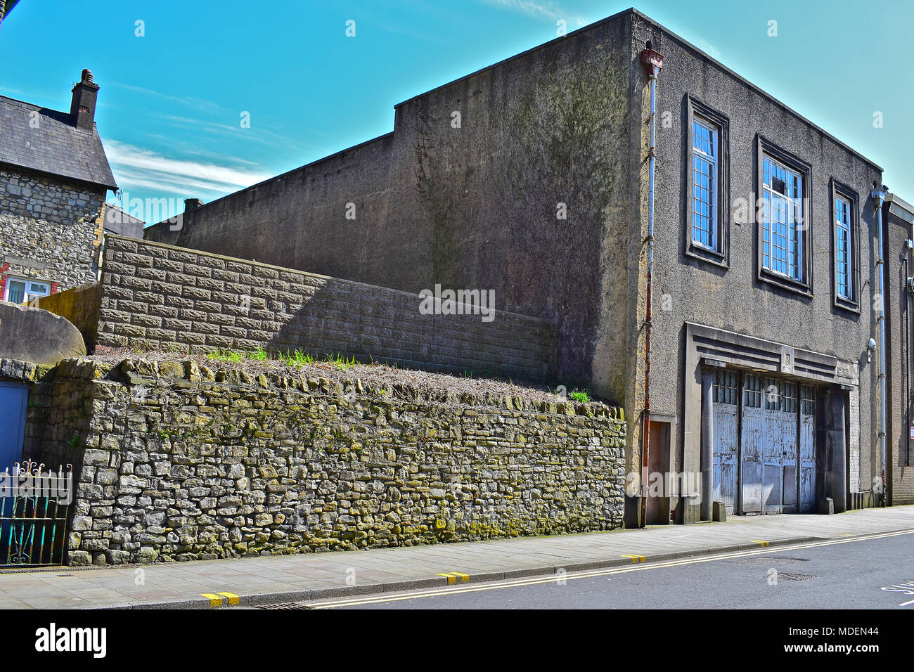 The old fire station in Bridgend S.Wales. It has remained empty for many years and is a Grade II Listed building. Stock Photo