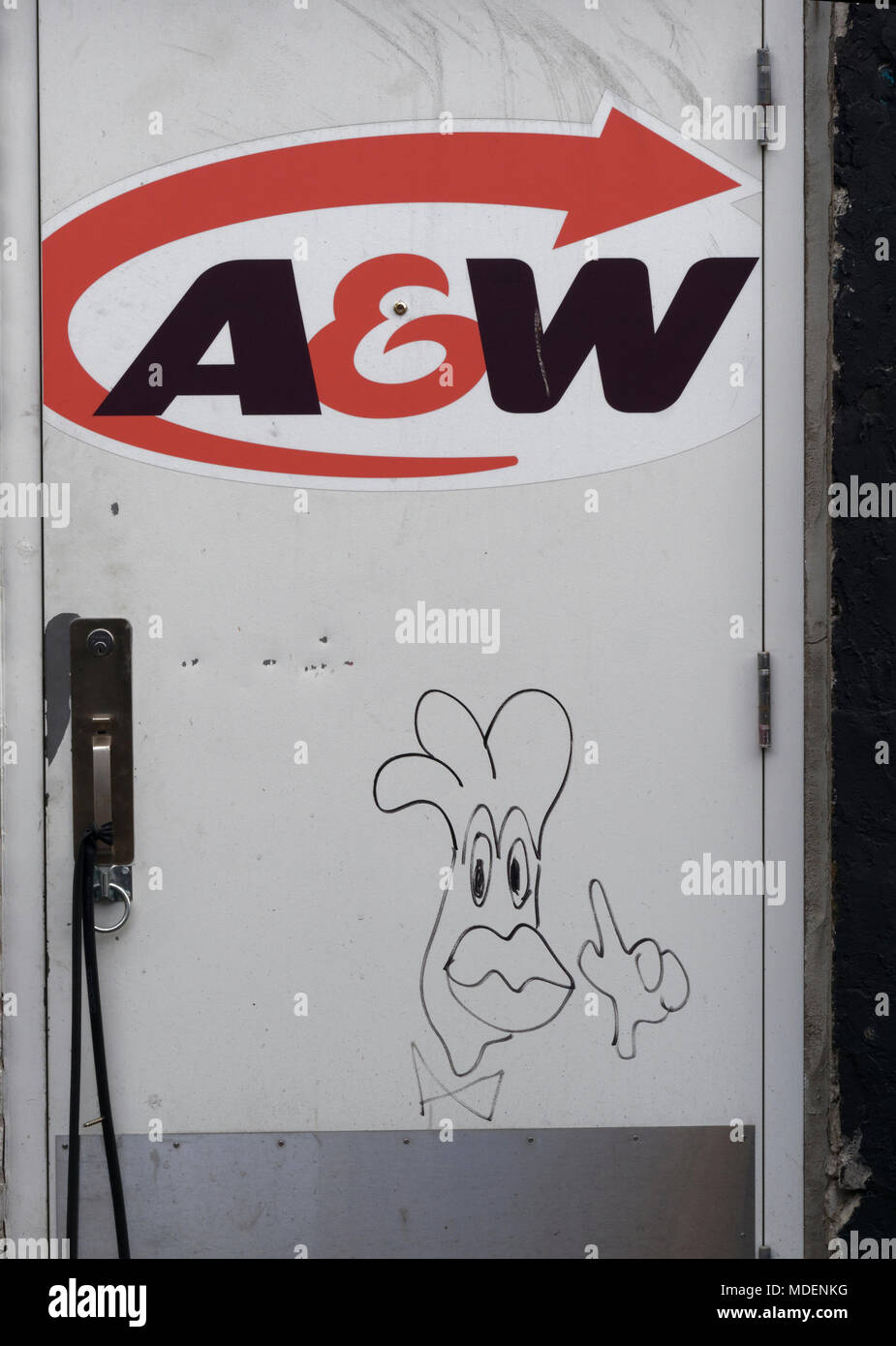 Quebec, Canada. Back door of an A&W fast food restaurant - Stock Image
