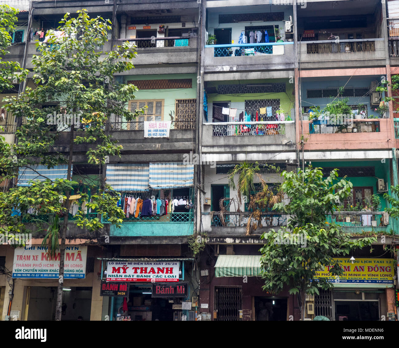 High density shophouse residential building in Ho Chi Minh City, Vietnam. Stock Photo