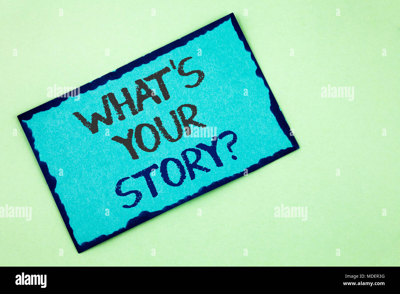 Conceptual hand writing showing What Is Your Story Question. Business photo text Telling personal past experiences Storytelling written Sticky Note Pa - Stock Image