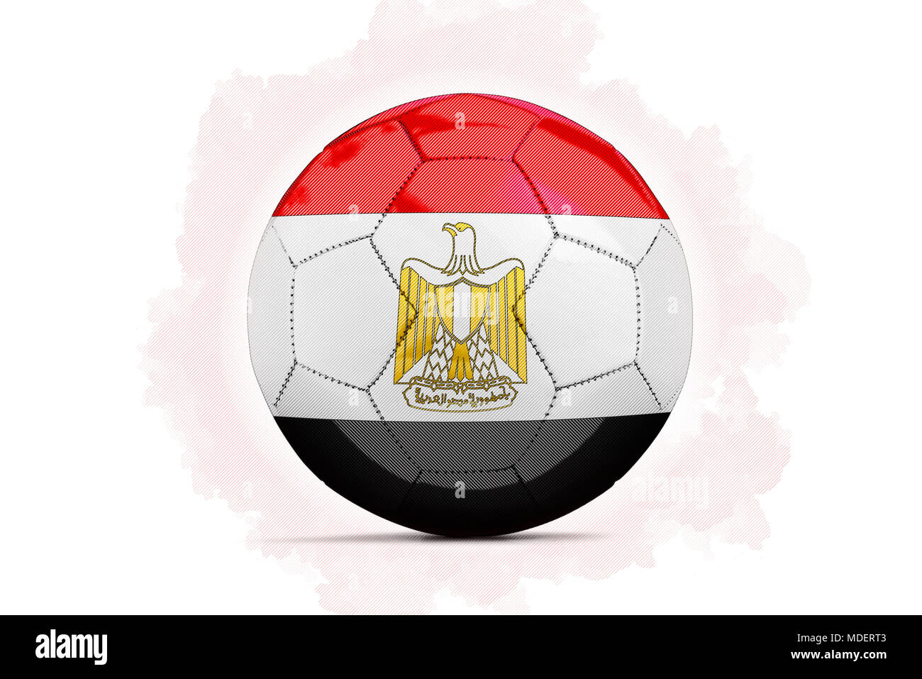 digital artwork sketch of a soccer ball with team flag egypt