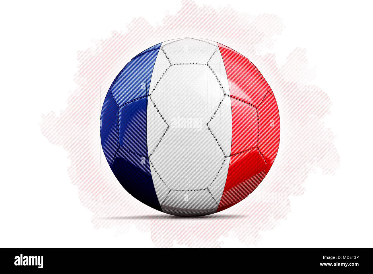 digital artwork sketch of a soccer ball with team flag france