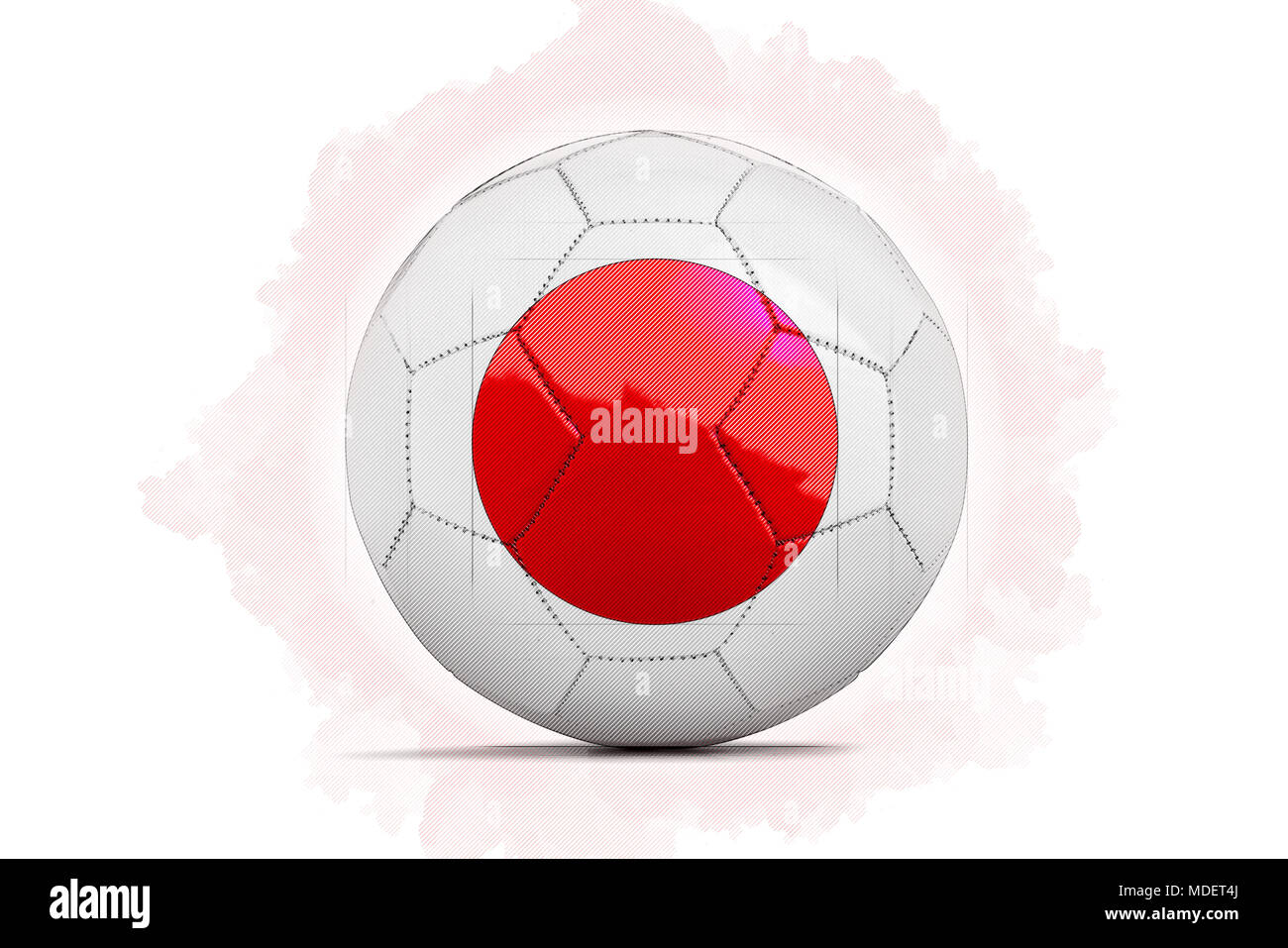 digital artwork sketch of a soccer ball with team flag japan asia