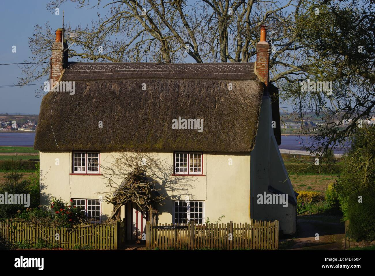 Quaint Rural Thatched Cottage. Church Road, Powderham, Exeter, Devon, UK. April, 2018. - Stock Image