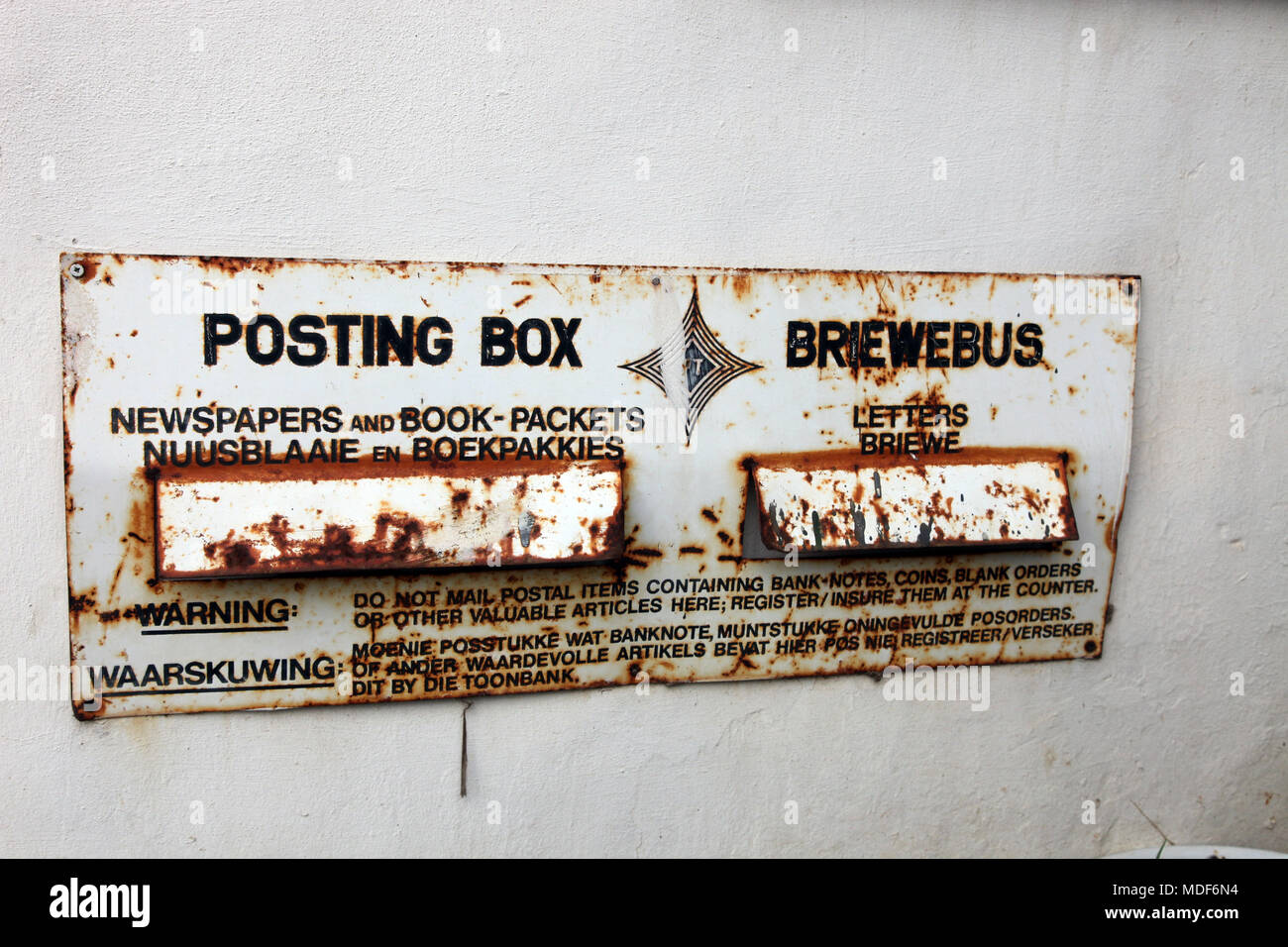 Vintage South African post box on show at Napier Farm Stall, Western Cape, South Africa - Stock Image