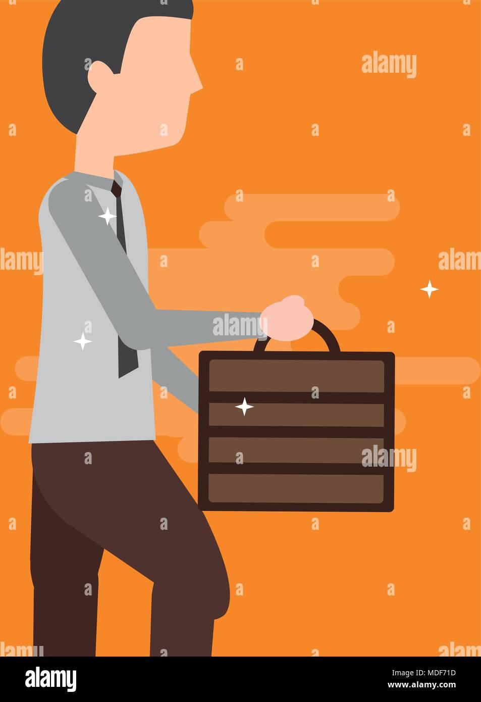 businessman holding briefcase walking activity - Stock Vector