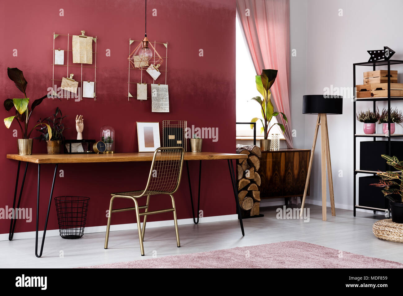 Gold chair at wooden table with poster and plant in elegant red apartment interior with lamp - Stock Image