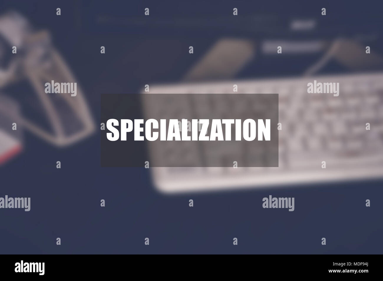 Specialization word with blurring business background - Stock Image