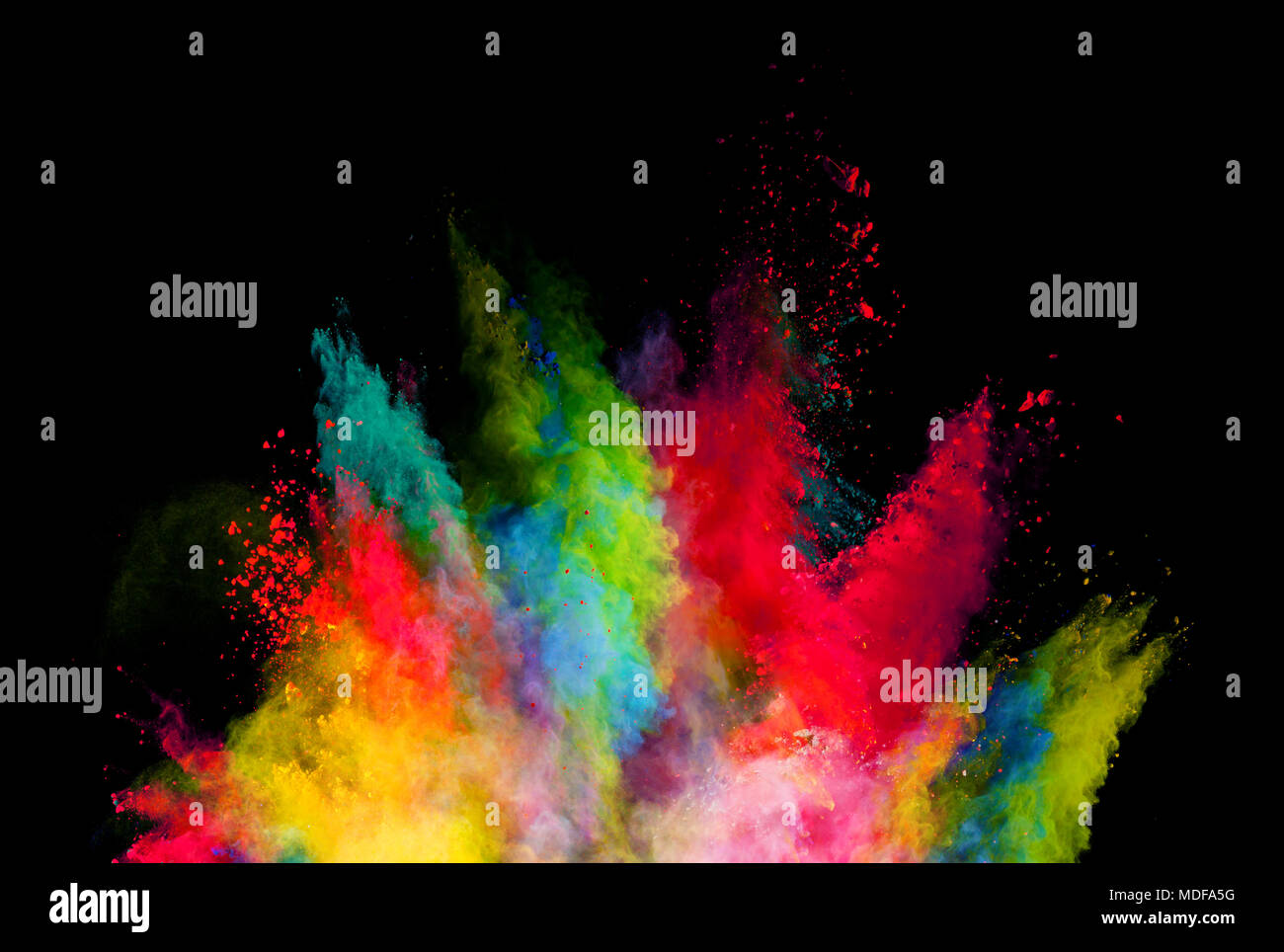 Abstract Colored Powder Explosion Isolated On Black