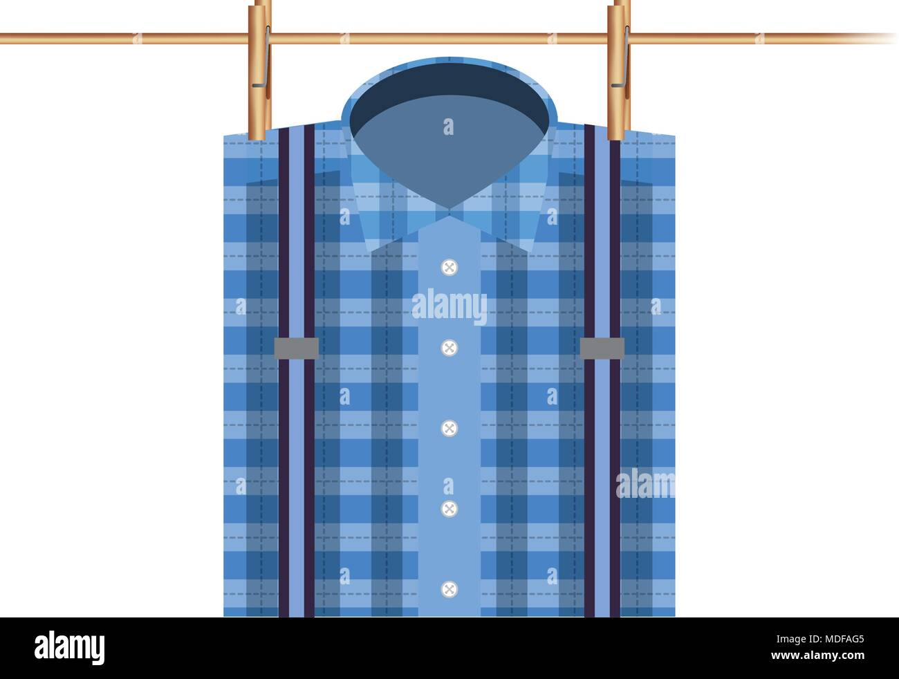 checked shirt hanging rope - Stock Vector