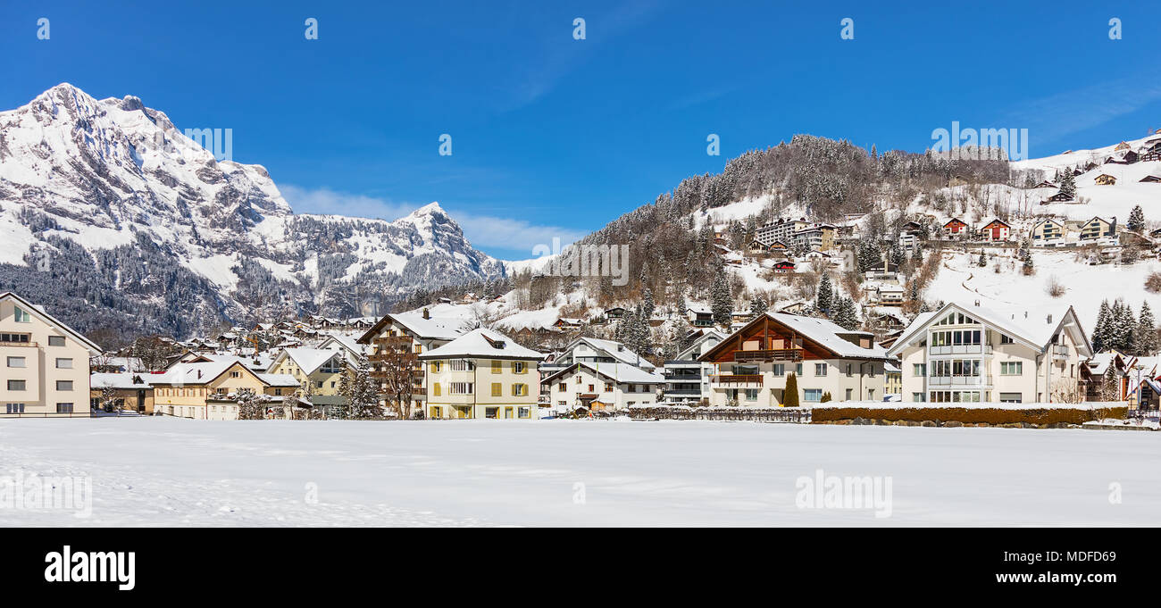 Switzerland Europe Engelberg Obwalden Winter Stock Photos