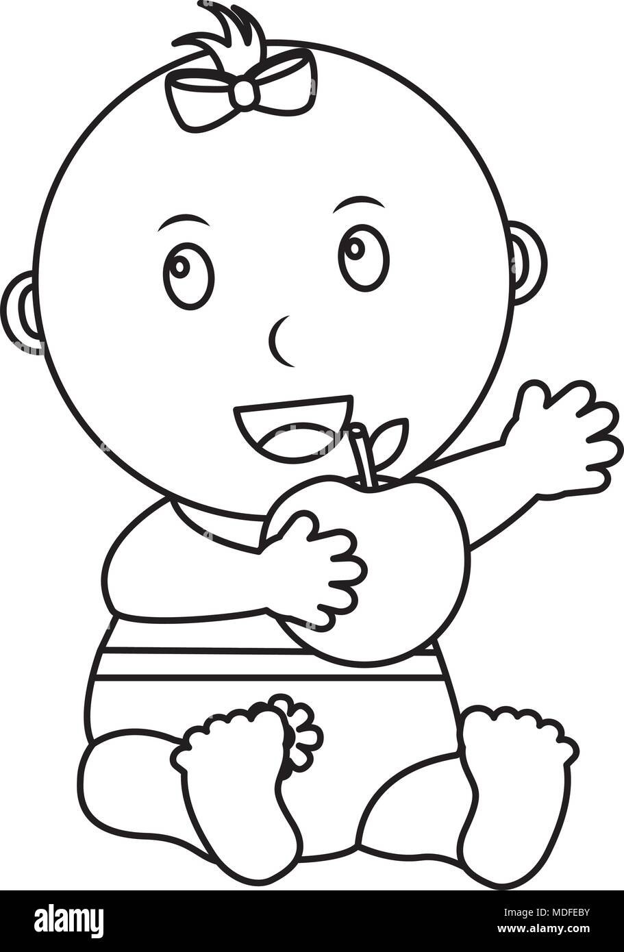 cute little baby sitting with fresh apple - Stock Vector