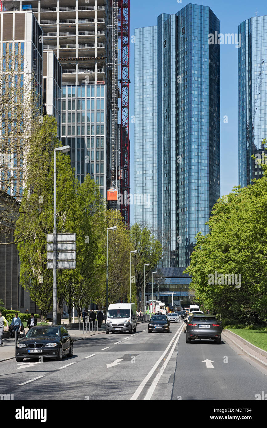 Skyscraper building landscape at the taunusanlage in frankfurt am main, germany - Stock Image