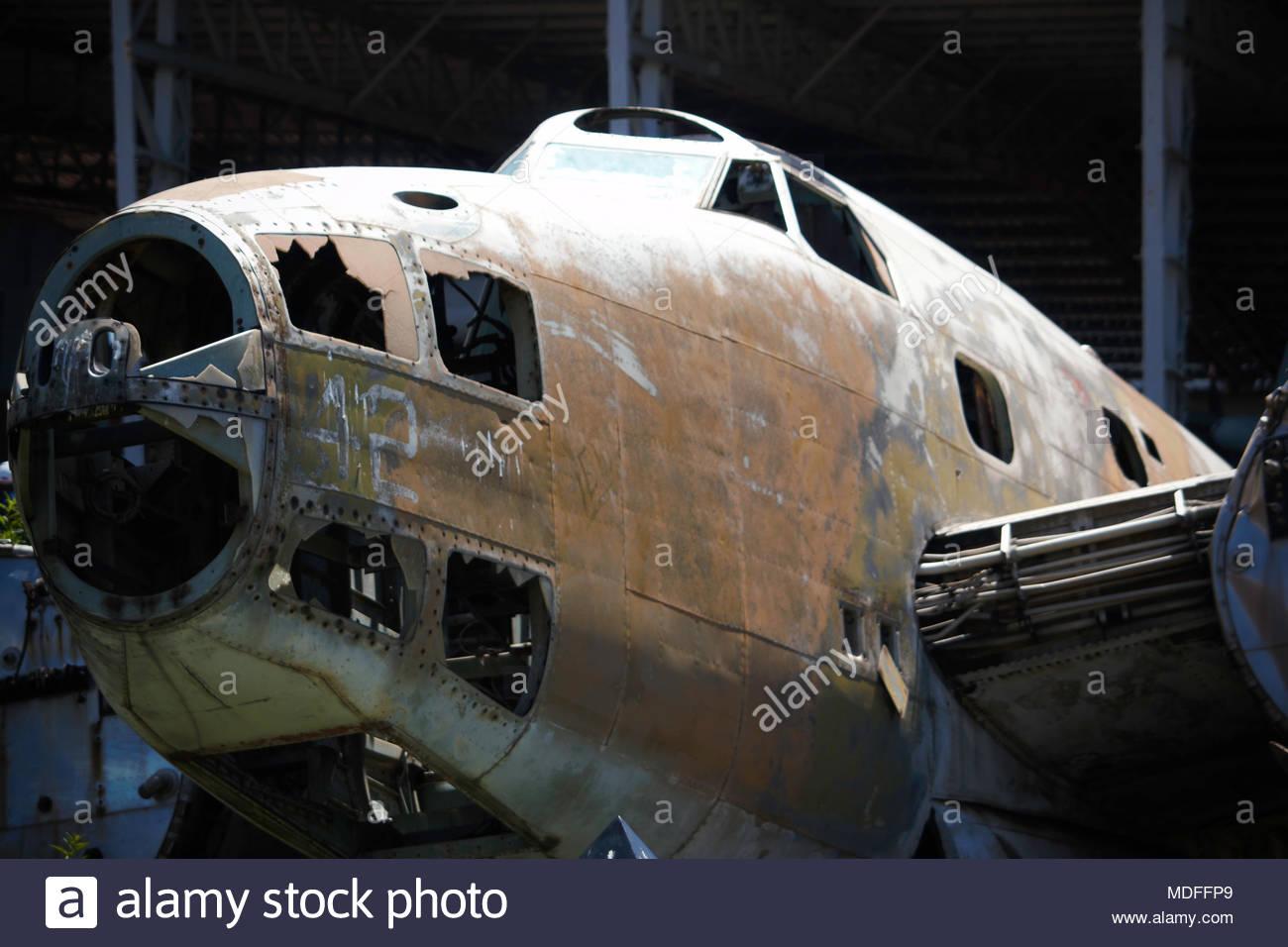 Derelict Hudson Bomber Aircraft Airframe Cabin Exterior - Stock Image