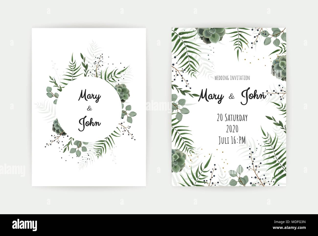 Wedding invitation with green leaf eucalyptus branches decorative wedding invitation with green leaf eucalyptus branches decorative wreath frame pattern vector elegant watercolor rustic template stopboris Image collections