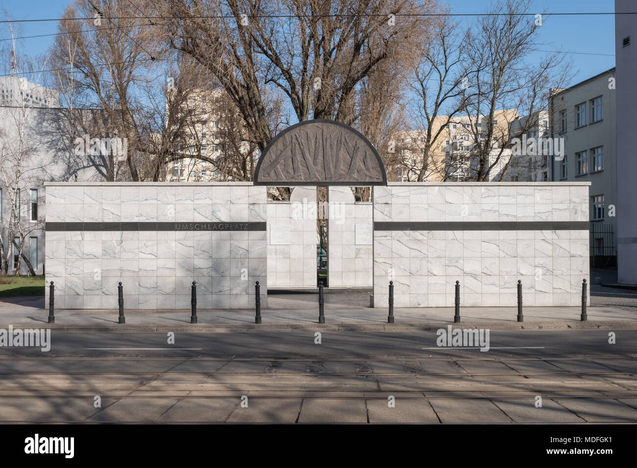 Site of the Umschlagplatz, collection point. Modern memorial to the Jews who were deported from the Warsaw Jewish Ghetto (Poland) during WW2. - Stock Image