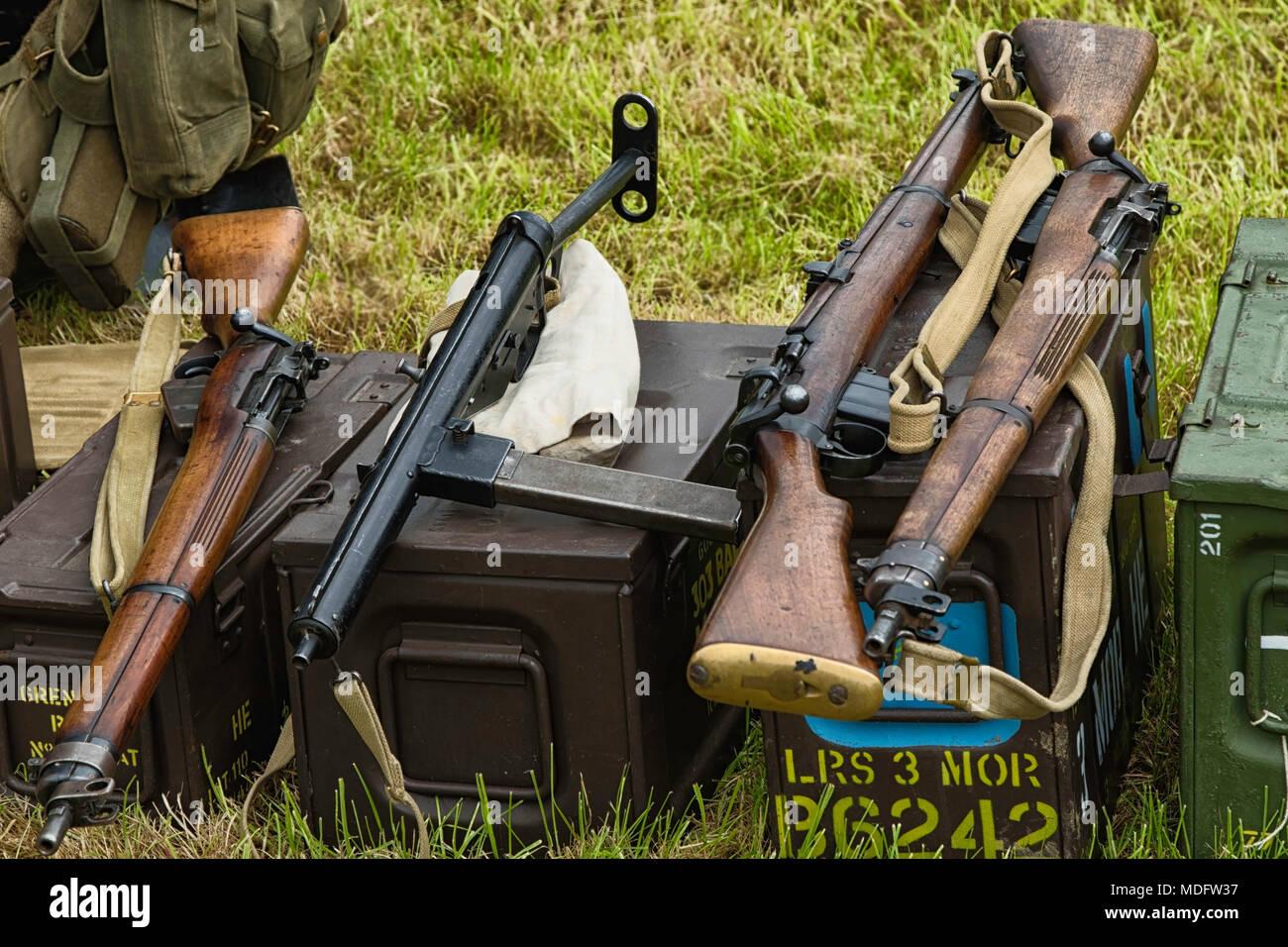 Wartime Firearms on Display at  Pateley Bridge 1940′s Weekend,Nidderdale,North Yorkshire,England,UK. - Stock Image