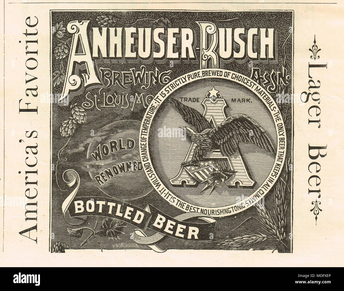 Early advert, Anheuser Busch, 1888 - Stock Image
