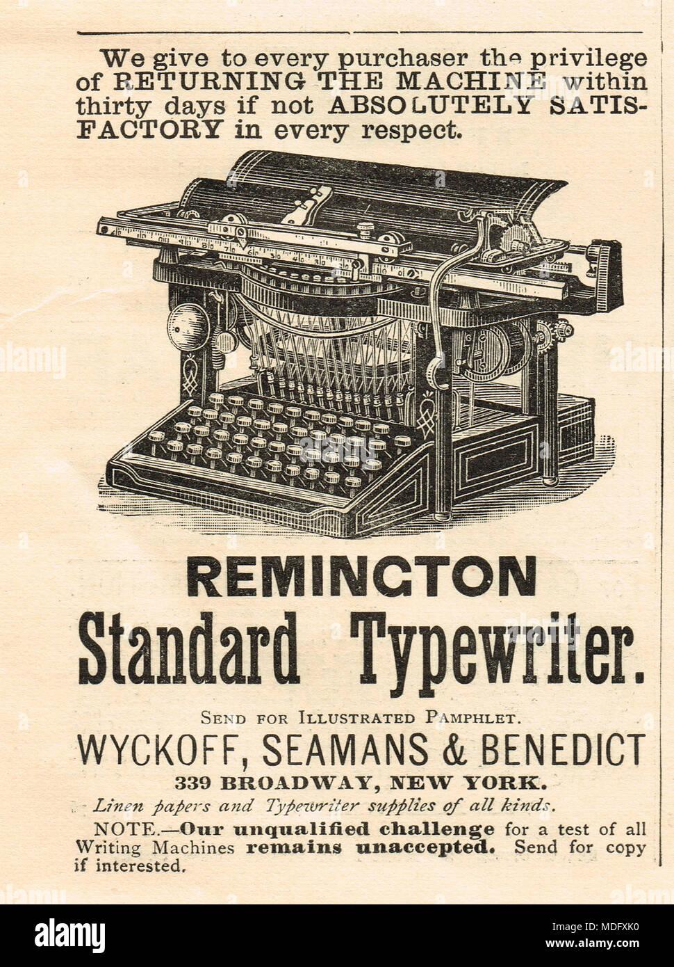 Early advert, Remington standard typewriter, 1888 - Stock Image