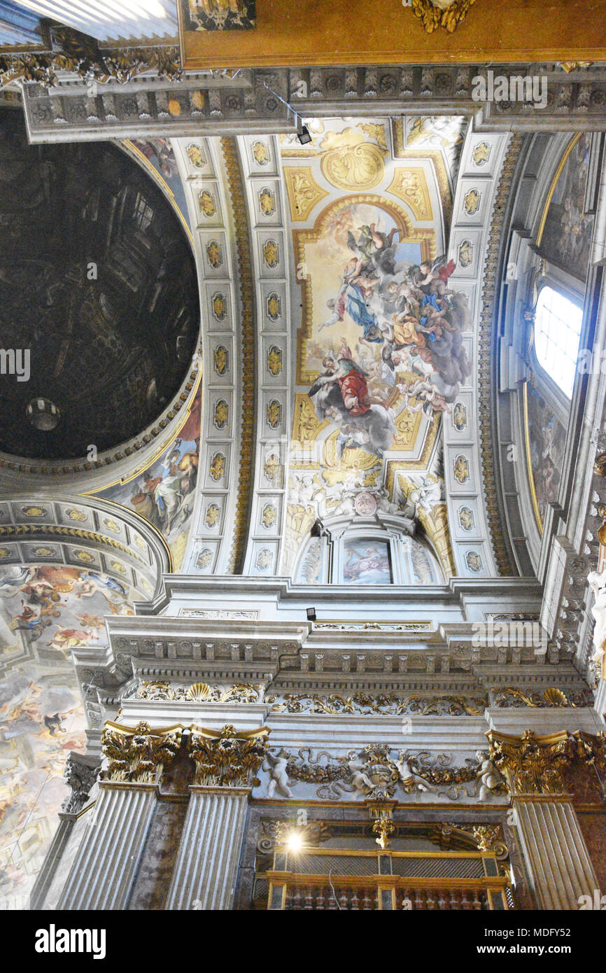 Andrea Pozzo ceiling painting; The Church of St. Ignatius of Loyola at Campus Martius (Italian: Chiesa di Sant'Ignazio di Loyola in Campo Marzio, Lati - Stock Image