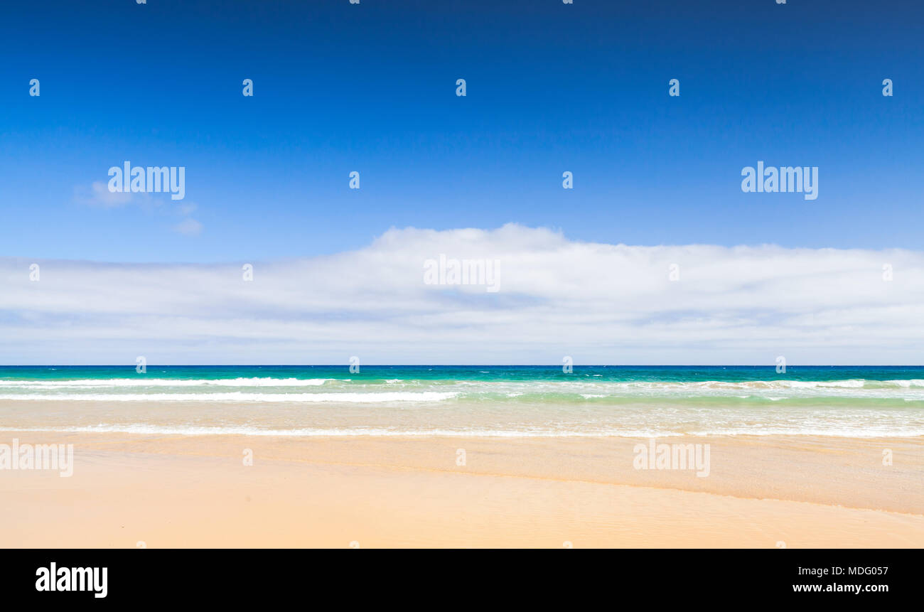 Sandy beach background landscape. Porto Santo island, Madeira archipelago, Portugal - Stock Image