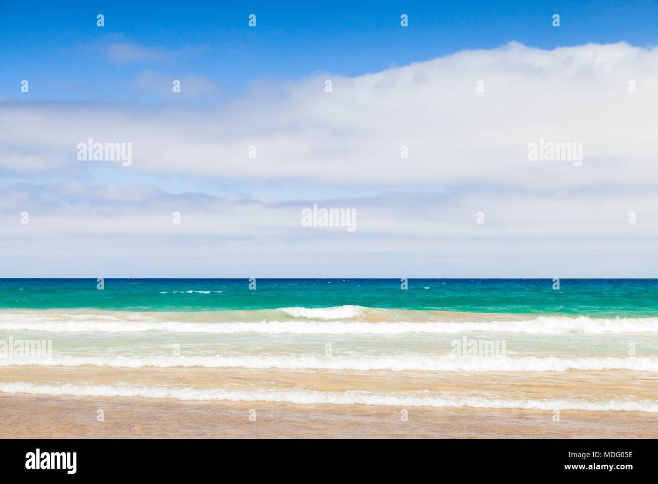 Sandy beach landscape background. Island Porto Santo in the Madeira archipelago, Portugal - Stock Image