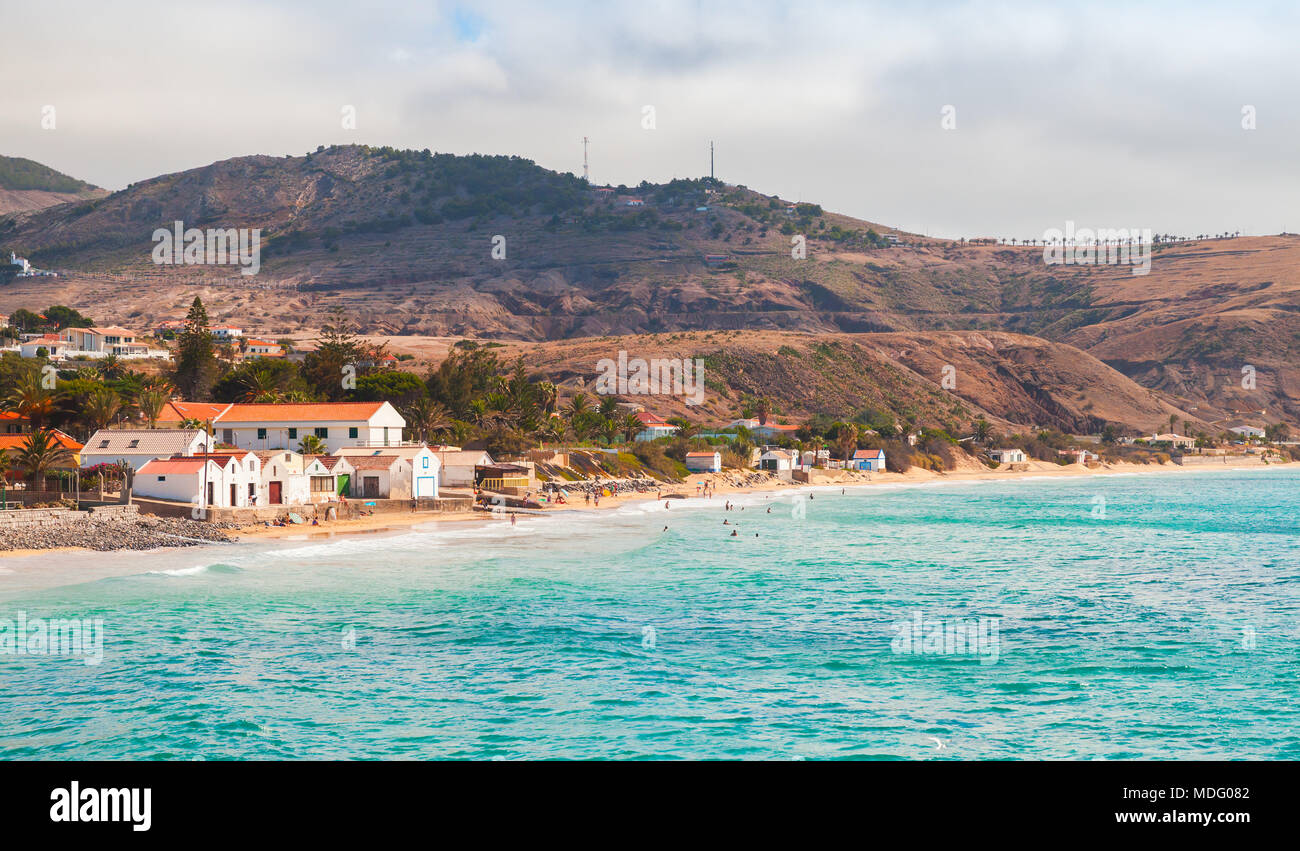 Vila Baleira. Coastal landscape of Porto Santo island, Madeira archipelago, Portugal - Stock Image
