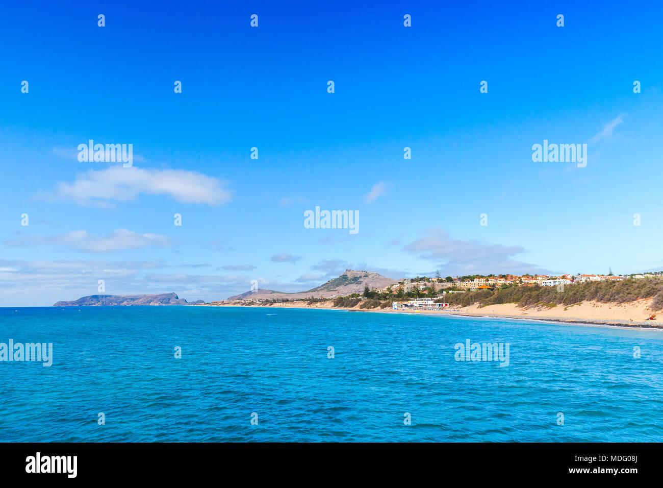 Coastal landscape of Porto Santo island in Madeira archipelago, Portugal - Stock Image