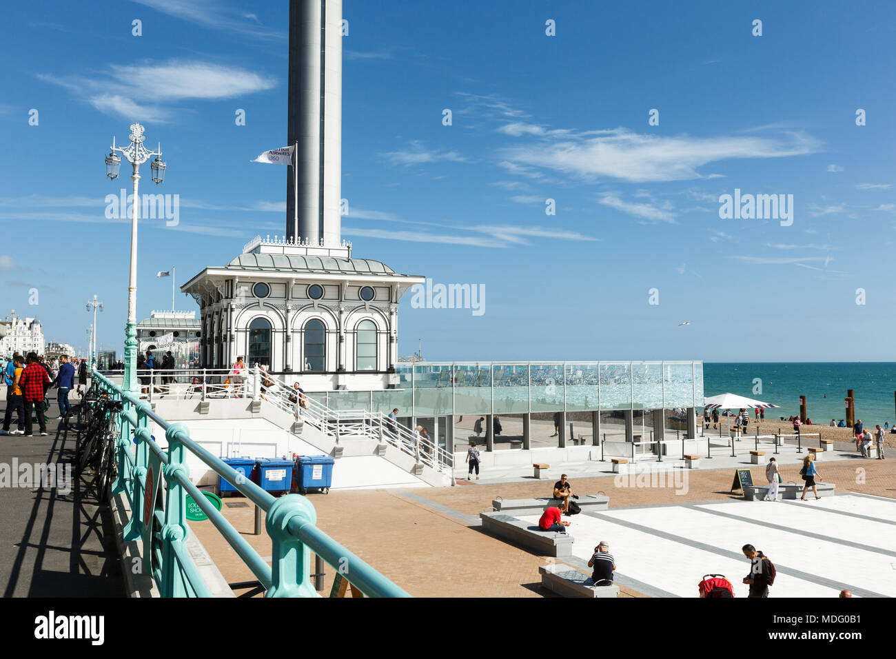 Spire of British Airways i360 observation tower in Brighton, gull in the rays - Stock Image