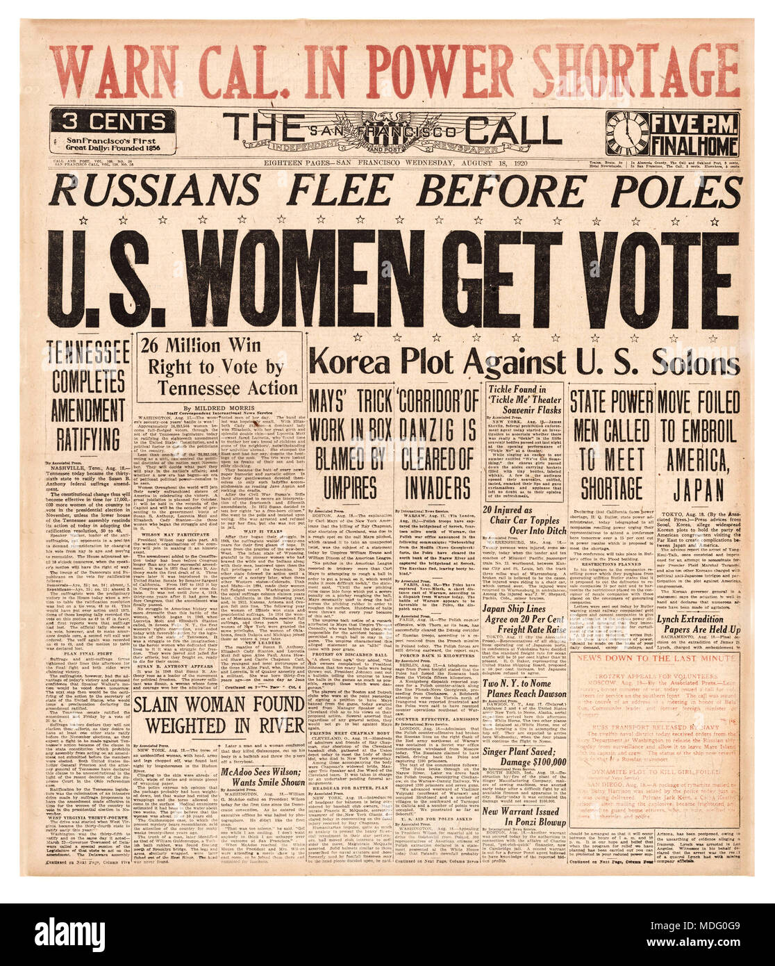 Newspaper Headline Suffrage Vote On Aug 18 1920 Tennessee Became The 36th State To Ratify 19th Amendment US Constitution