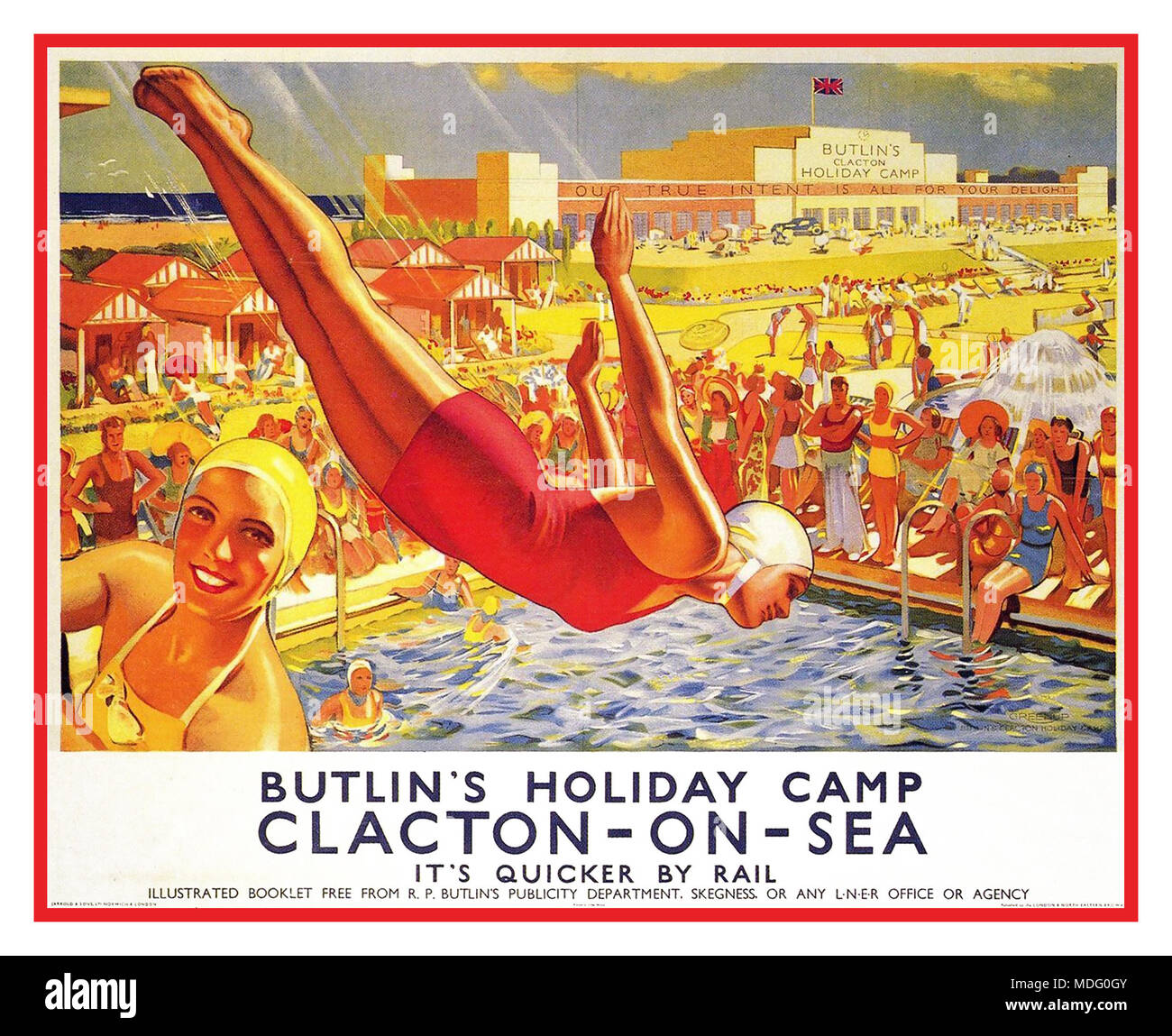 Vintage 1940's holiday 'quicker by rail' poster Butlin's Holiday Camp Clacton-on-Sea UK by J. Greenup 1940 UK - Stock Image