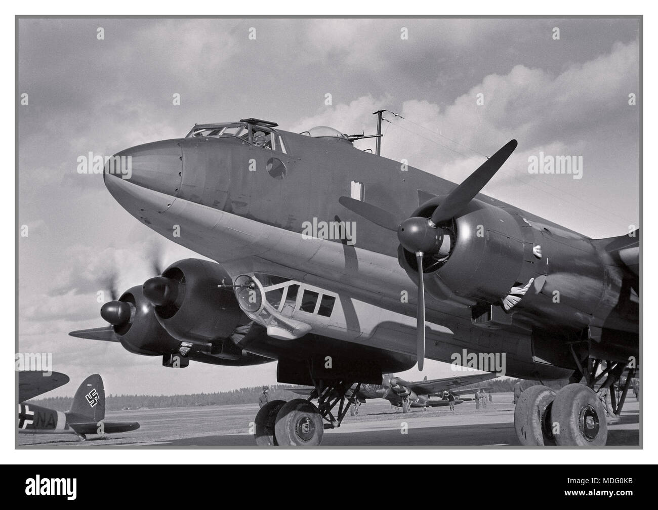 Adolf Hitler's Focke-Wulf Fw 200 Condor with fighter escort at Immola Airport during his visit to see Marshal Mannerheim 4 June 1942 in Finland - Stock Image