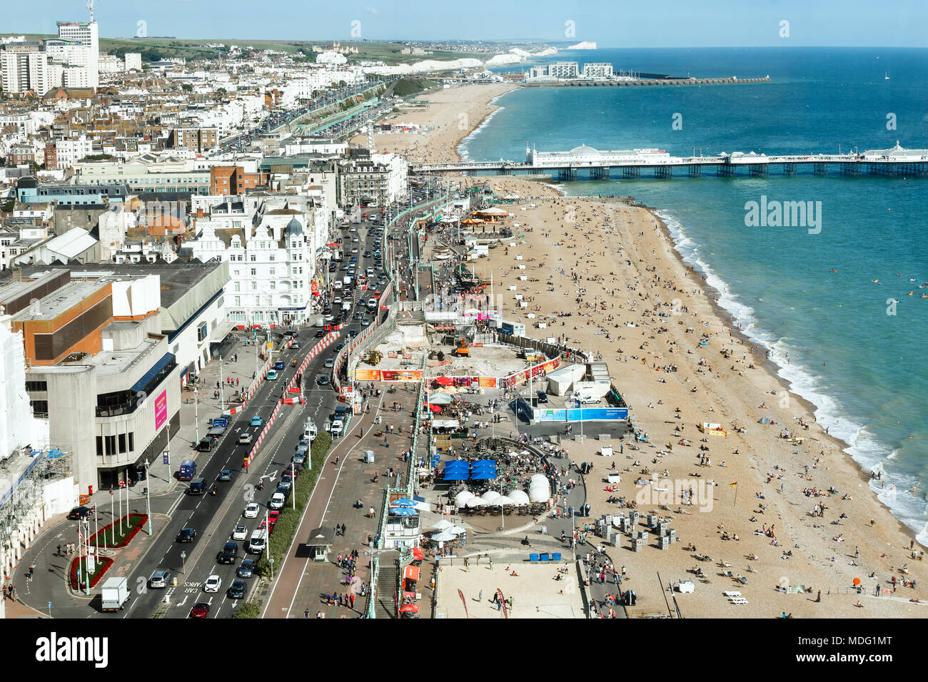 Aerial view of sunny summer Brighton, coastline, Seven Sisters on the horizon - Stock Image