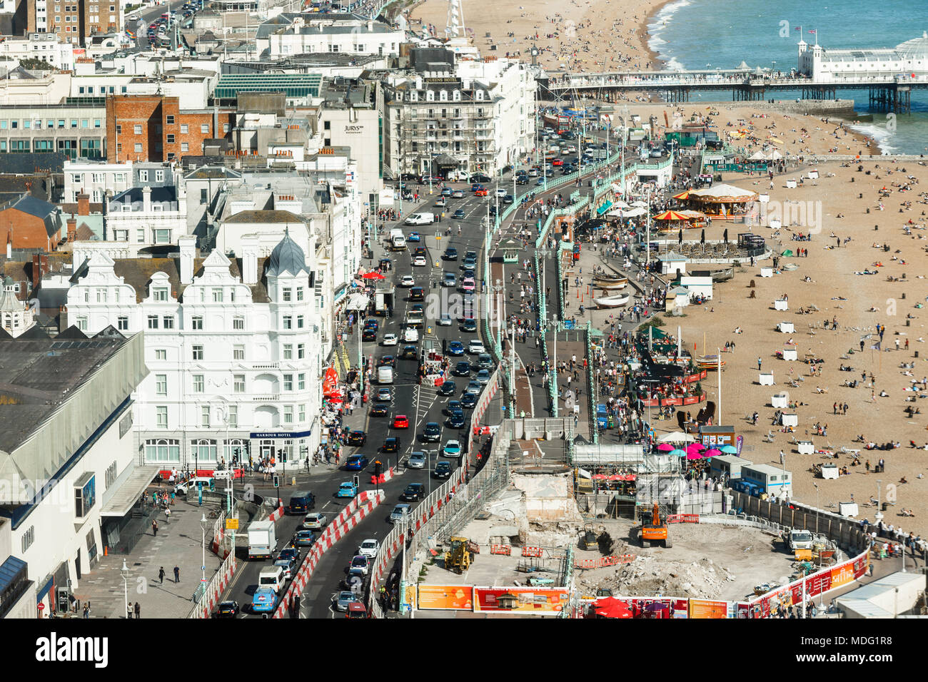 Aerial view of Brighton, roadway is made narrower due to built work - Stock Image