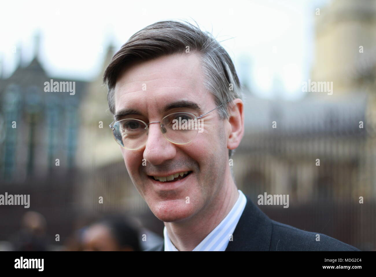 17 April 2018 Jacob Rees-Mogg posed for the photograph in Parliament Square London at the request of the photographer. British politicians. MPS. British politics. ERG. European research group. Photo credit Russell Moore. - Stock Image
