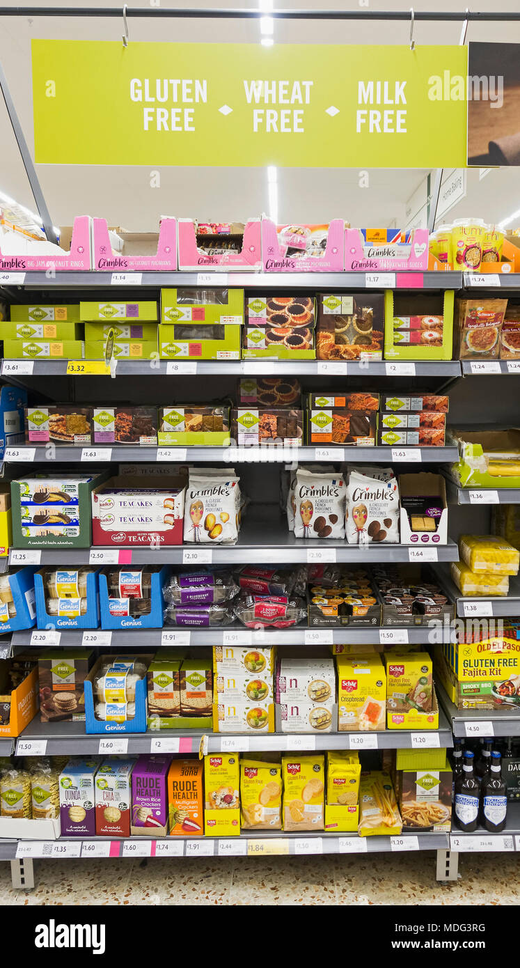 A range of supermarket products developed for those with intolerance to gluten, wheat and milk. - Stock Image